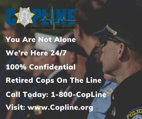 CopLine: The world's only 24/7 confidential helpline for Law Enforcement.